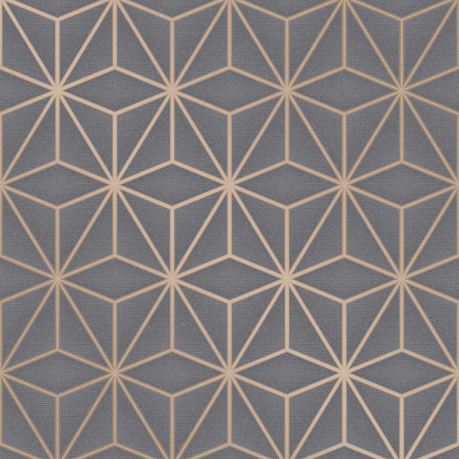 Apex Trellis Sidewall Wallpaper Copper: COPPER / CHARCOAL WALLPAPER - GLITTER METALLIC FEATHERS TREE DAMASK GEOMETRIC