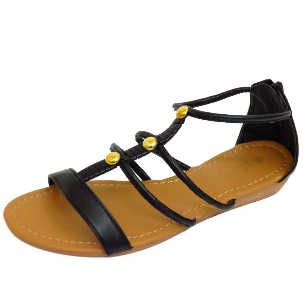 Mujer Plano Negro Gladiador Cómodo Chanclas Zapatos Verano Playa Cremallera