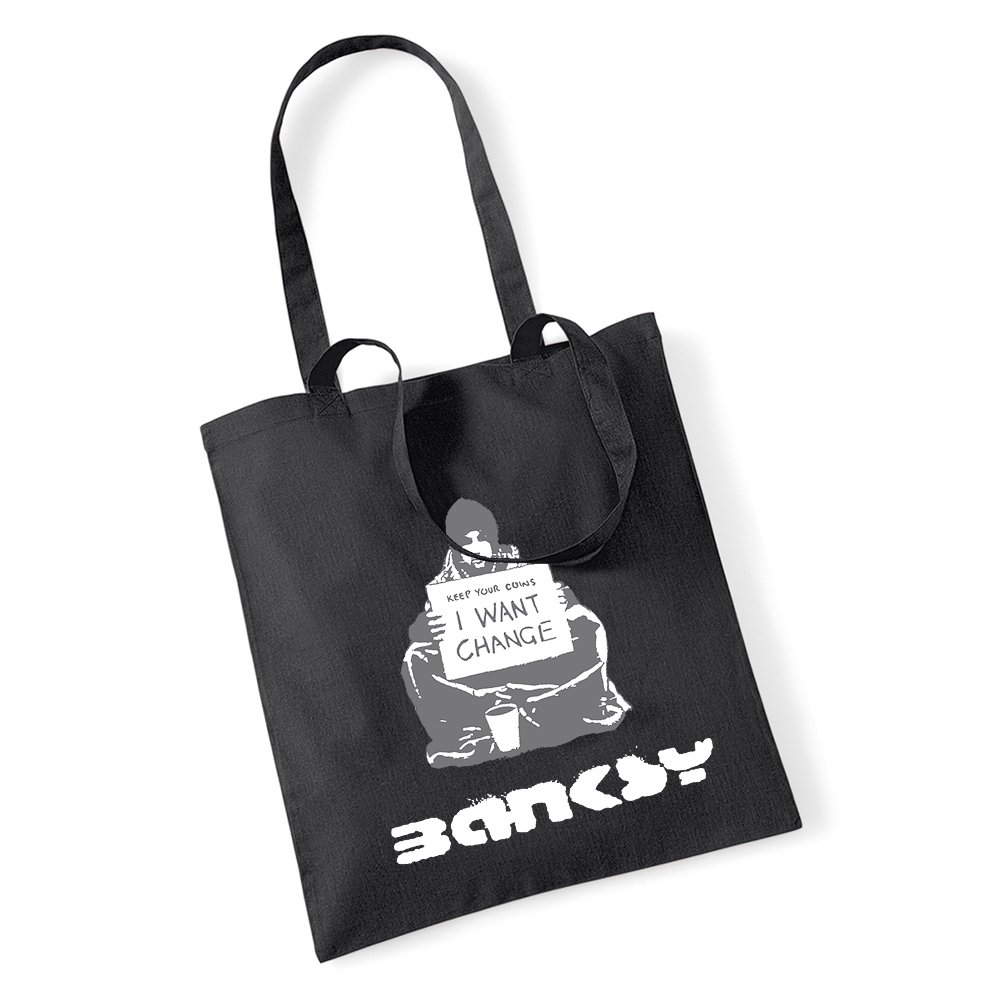 Banksy Keep Your Münzen I wollen Wechselgeld Tragetasche Einkaufstasche