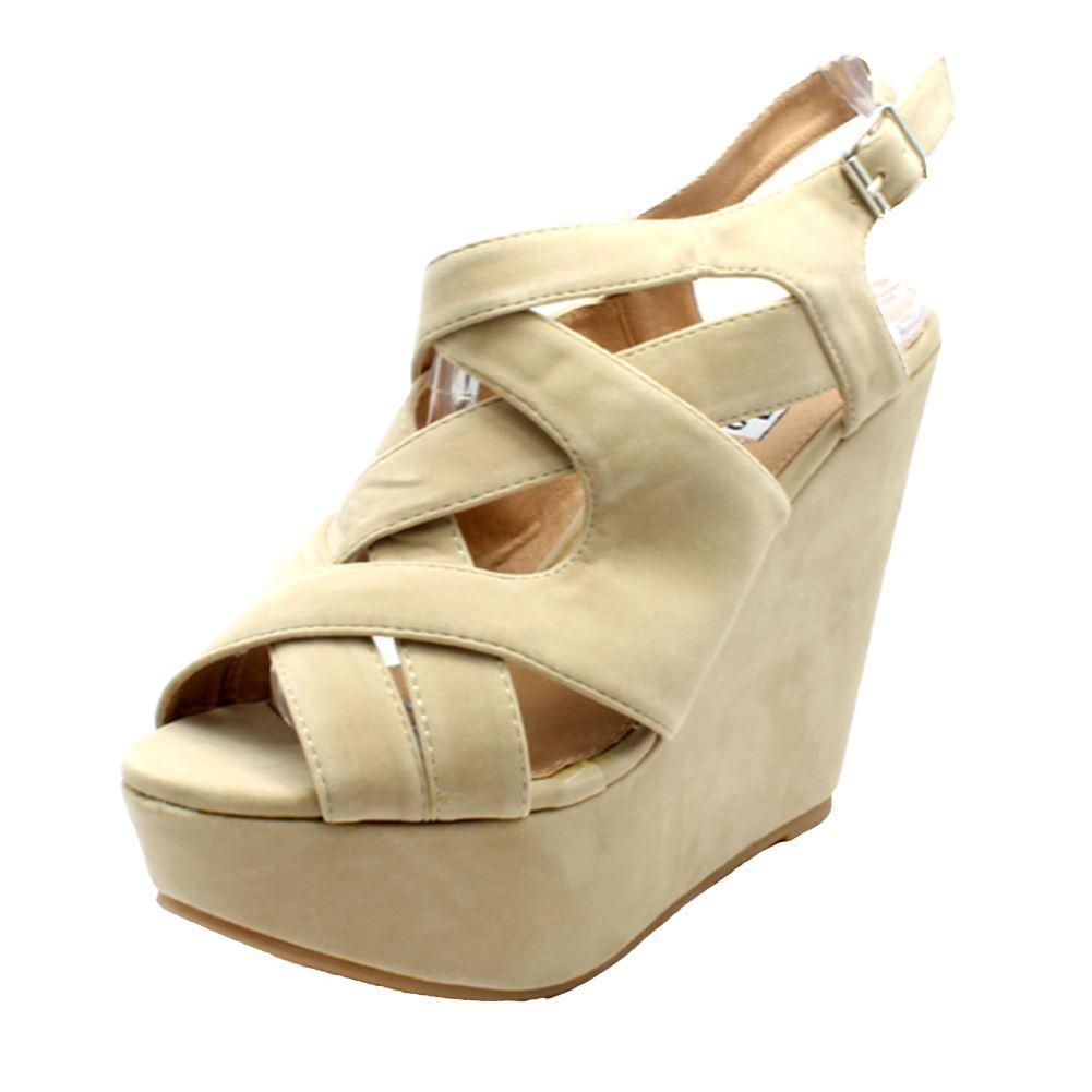 Damen Velours Plateau Riemen Keilabsatz Sandalen/Schuhe