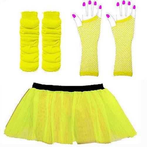 Donna-Tutu-SET-NEON-scaldamuscoli-guanti-anni-80-Vestito-per-addio-al-nubilato
