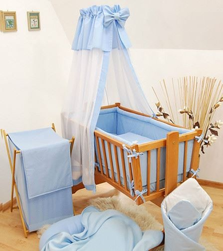 7 teile wiege baby bettw sche set 90x40 himmel wiege f r wippen schaukel uni ebay. Black Bedroom Furniture Sets. Home Design Ideas