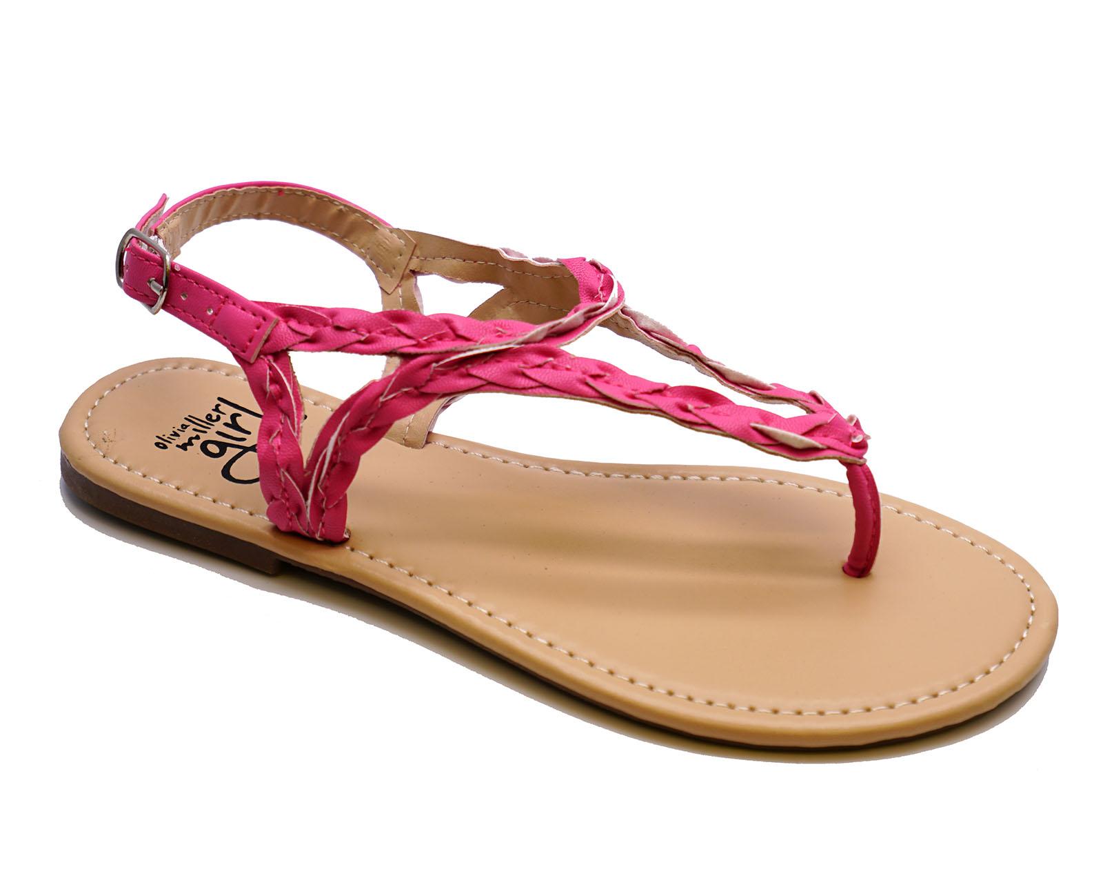 nina-infantil-rosa-con-Tira-Sandalias-Estilo-Gladiador-Zapatos-De-Verano-Tallas