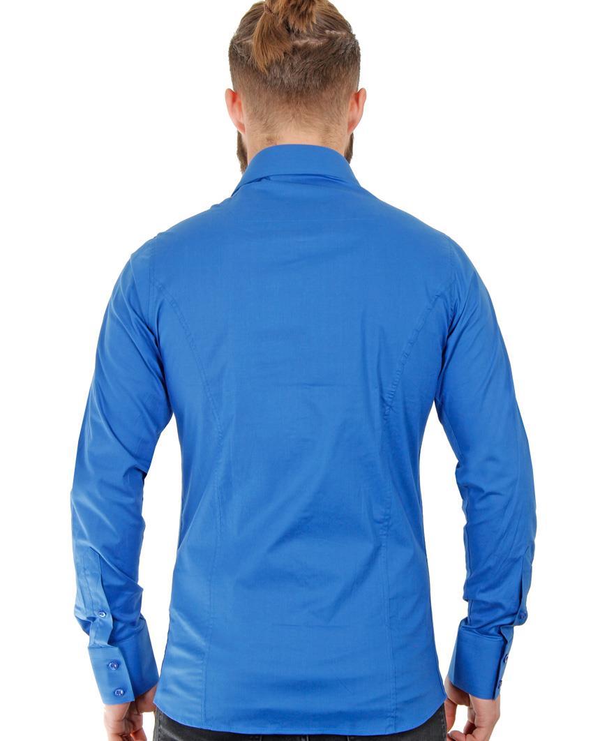 Camicia-Uomo-Slim-Fit-Business-Tempo-Libero-Matrimonio-Maglia-Stiro-Facile miniatura 56