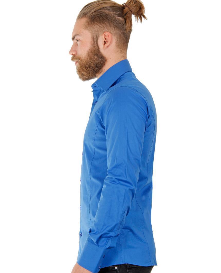 Camicia-Uomo-Slim-Fit-Business-Tempo-Libero-Matrimonio-Maglia-Stiro-Facile miniatura 55