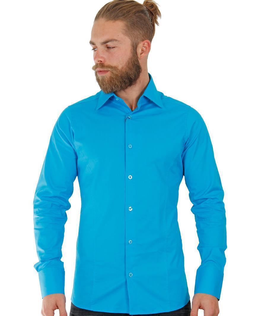 Camicia-Uomo-Slim-Fit-Business-Tempo-Libero-Matrimonio-Maglia-Stiro-Facile miniatura 76