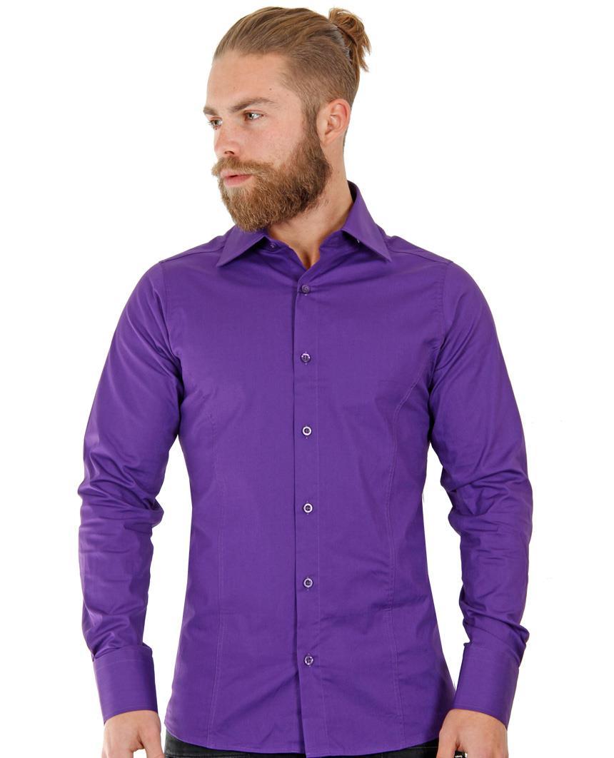 Camicia-Uomo-Slim-Fit-Business-Tempo-Libero-Matrimonio-Maglia-Stiro-Facile miniatura 58