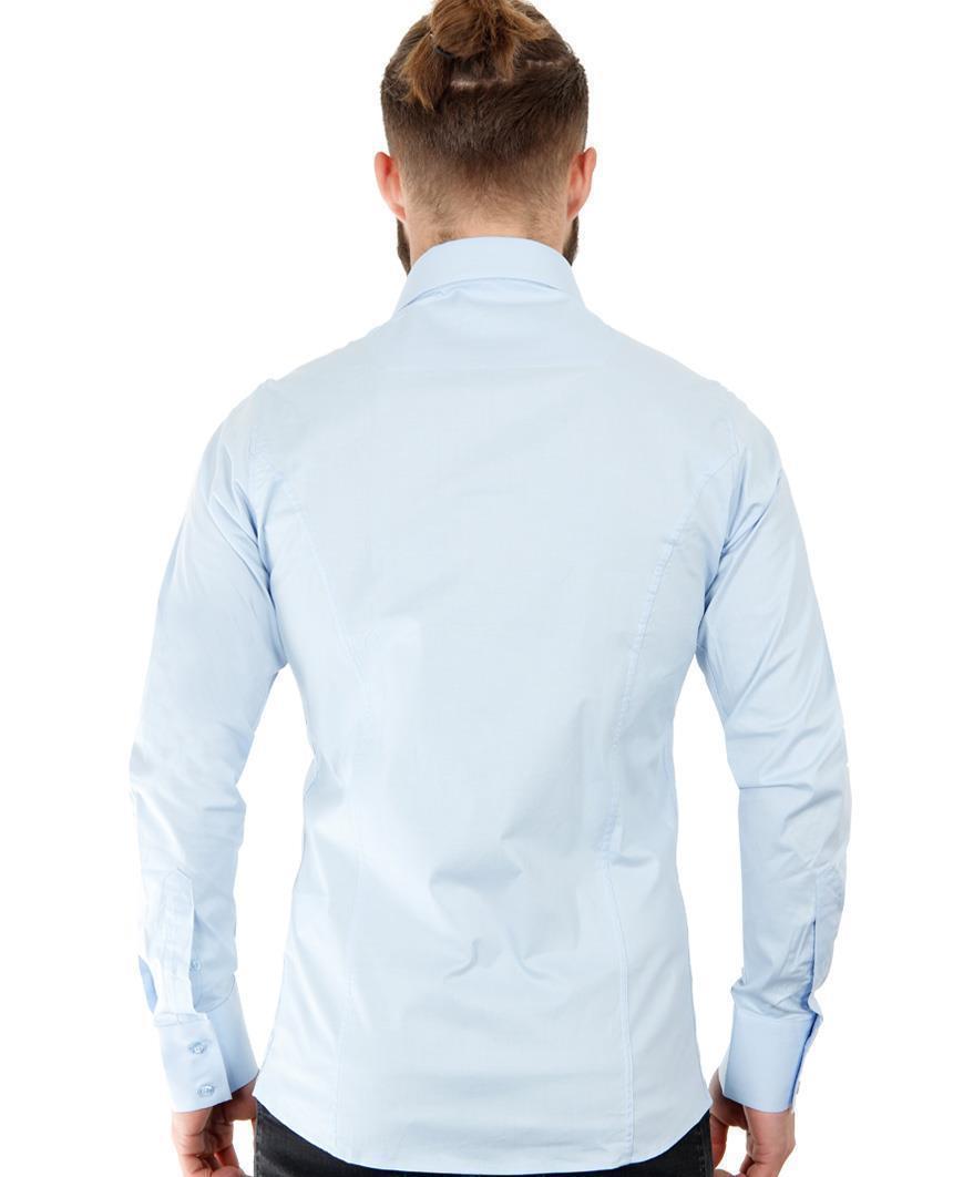 Camicia-Uomo-Slim-Fit-Business-Tempo-Libero-Matrimonio-Maglia-Stiro-Facile miniatura 36