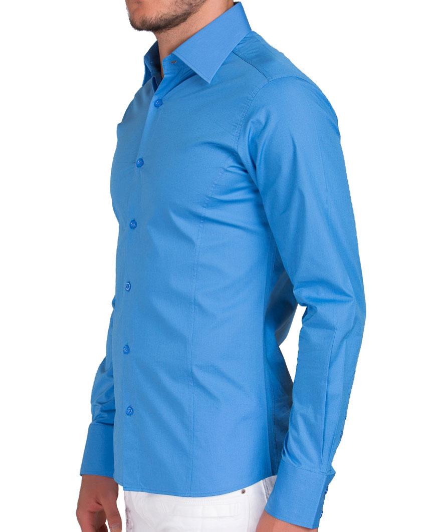 Camicia-Uomo-Slim-Fit-Business-Tempo-Libero-Matrimonio-Maglia-Stiro-Facile miniatura 25