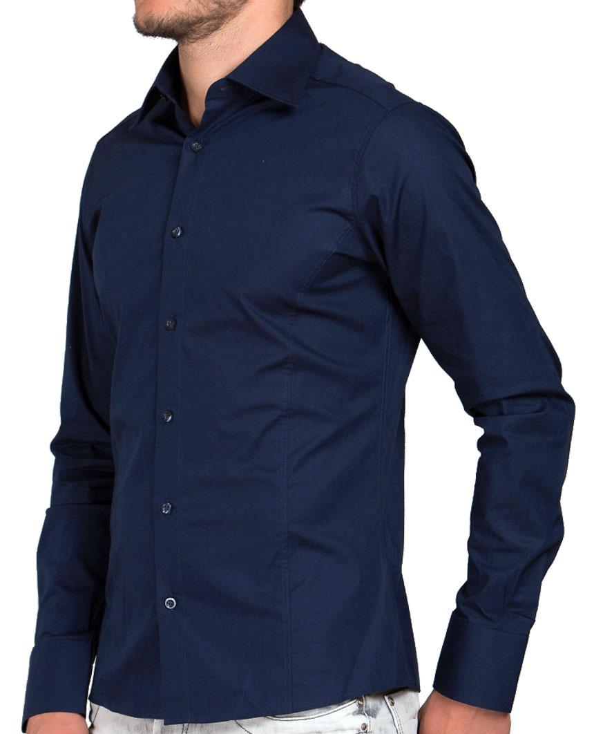 Camicia-Uomo-Slim-Fit-Business-Tempo-Libero-Matrimonio-Maglia-Stiro-Facile miniatura 40
