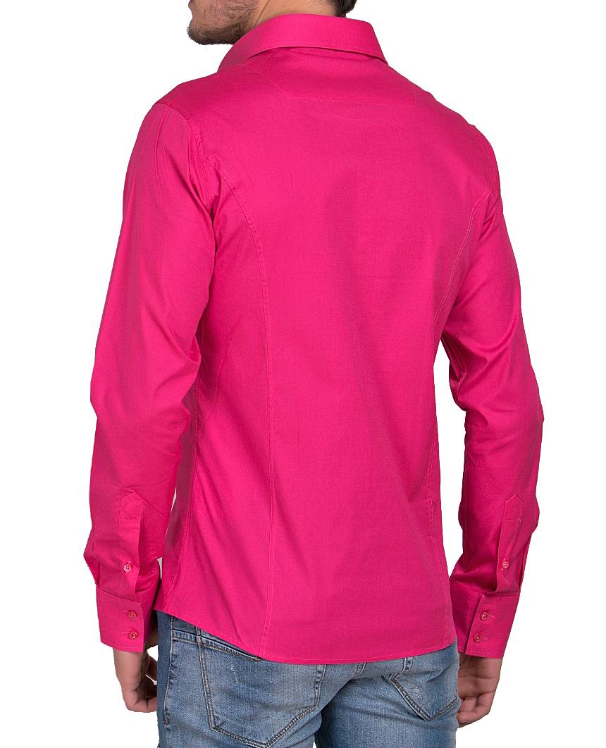 Camicia-Uomo-Slim-Fit-Business-Tempo-Libero-Matrimonio-Maglia-Stiro-Facile miniatura 51