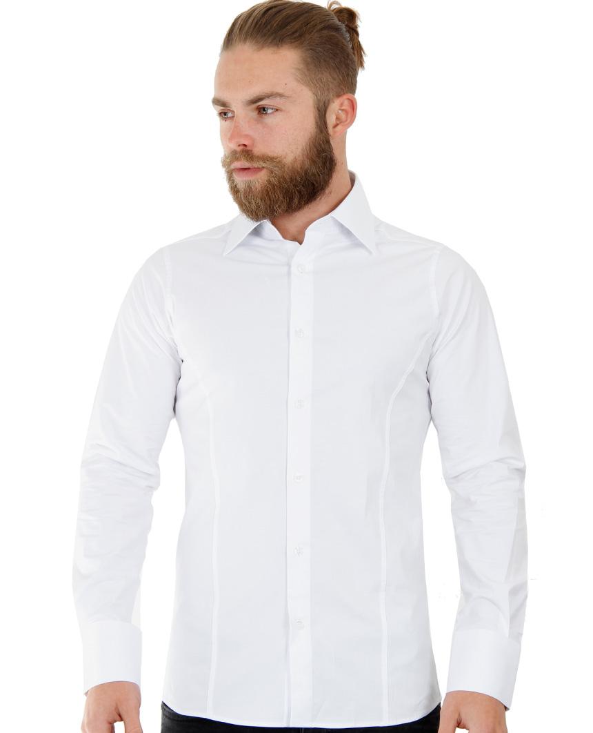 Camicia-Uomo-Slim-Fit-Business-Tempo-Libero-Matrimonio-Maglia-Stiro-Facile miniatura 80