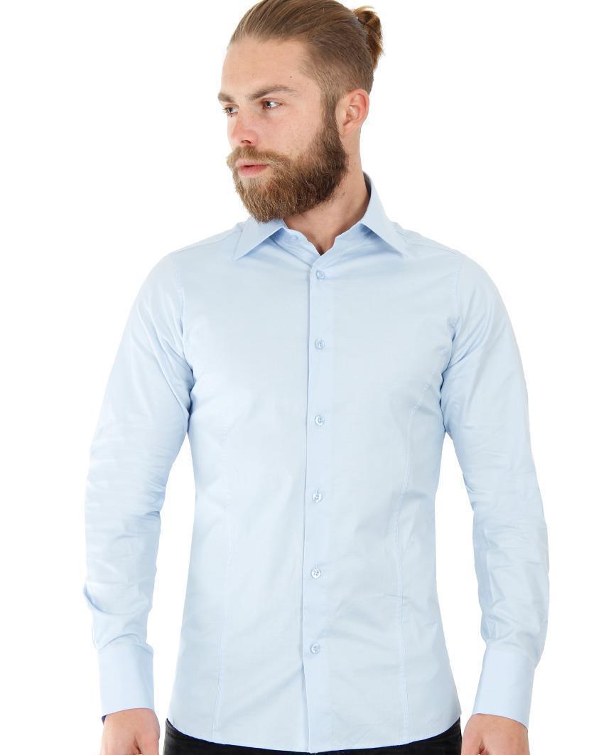 Camicia-Uomo-Slim-Fit-Business-Tempo-Libero-Matrimonio-Maglia-Stiro-Facile miniatura 34