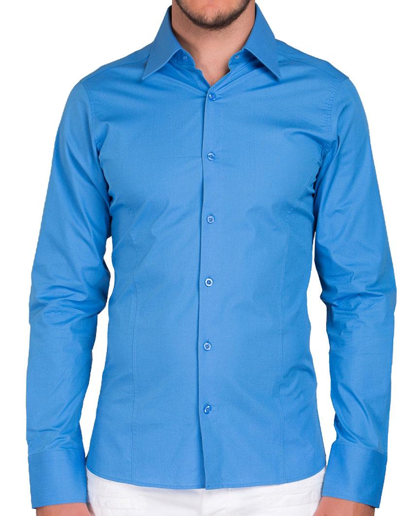 Camicia-Uomo-Slim-Fit-Business-Tempo-Libero-Matrimonio-Maglia-Stiro-Facile miniatura 23