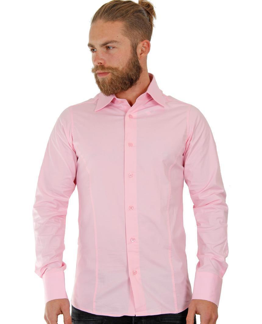 Camicia-Uomo-Slim-Fit-Business-Tempo-Libero-Matrimonio-Maglia-Stiro-Facile miniatura 14