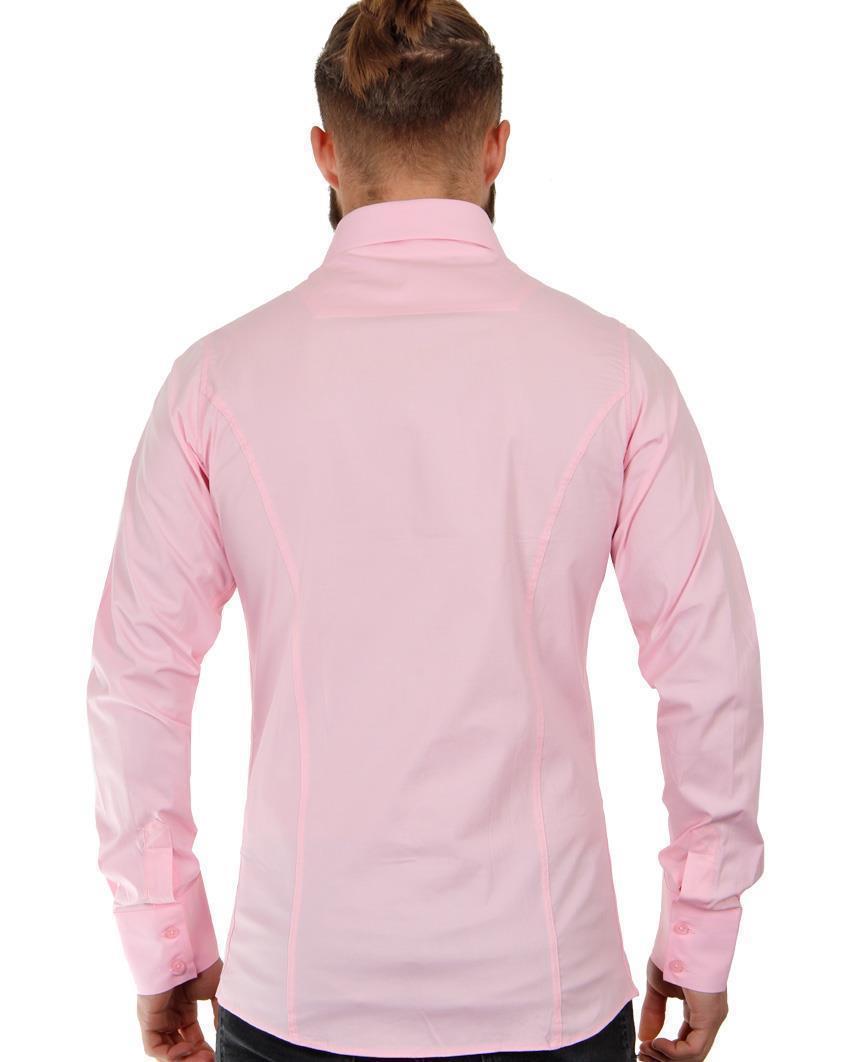 Camicia-Uomo-Slim-Fit-Business-Tempo-Libero-Matrimonio-Maglia-Stiro-Facile miniatura 16