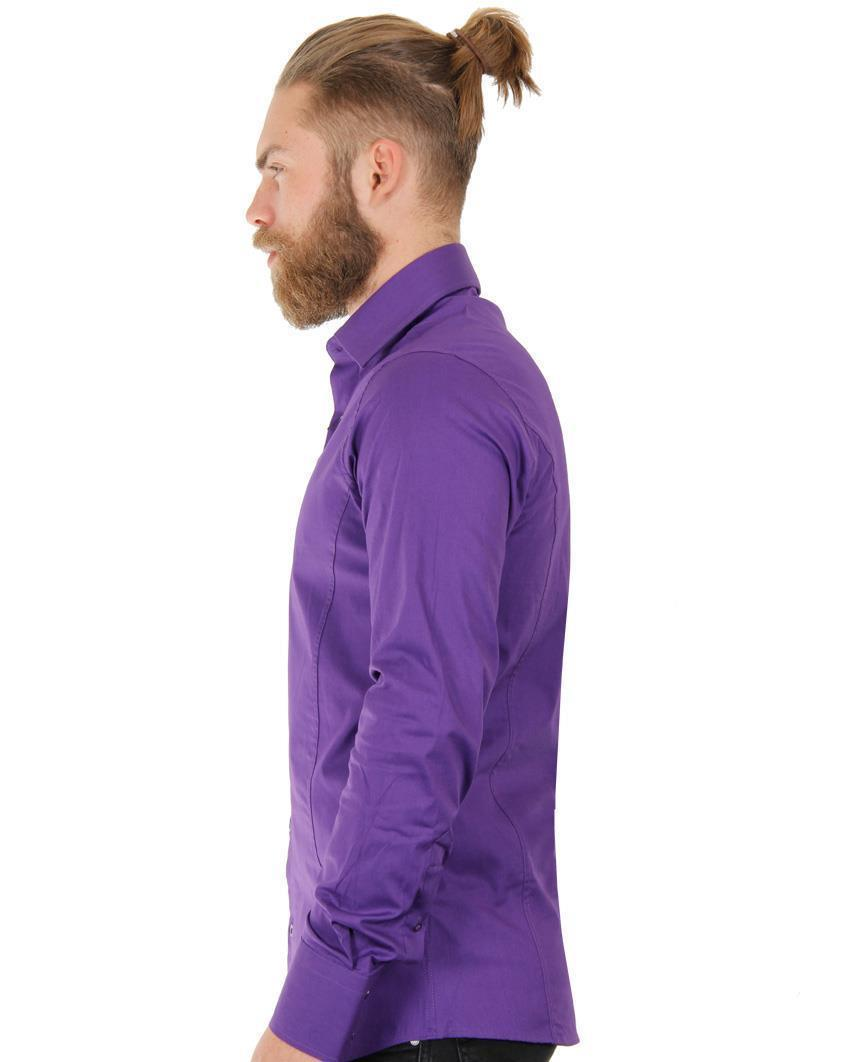 Camicia-Uomo-Slim-Fit-Business-Tempo-Libero-Matrimonio-Maglia-Stiro-Facile miniatura 59