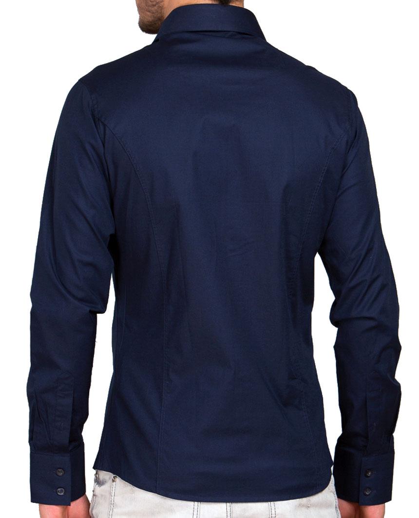 Camicia-Uomo-Slim-Fit-Business-Tempo-Libero-Matrimonio-Maglia-Stiro-Facile miniatura 41