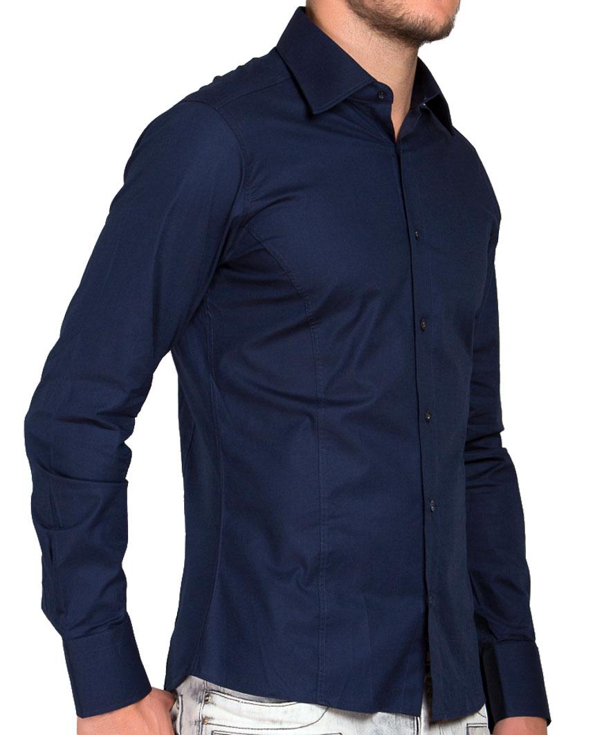 Camicia-Uomo-Slim-Fit-Business-Tempo-Libero-Matrimonio-Maglia-Stiro-Facile miniatura 39