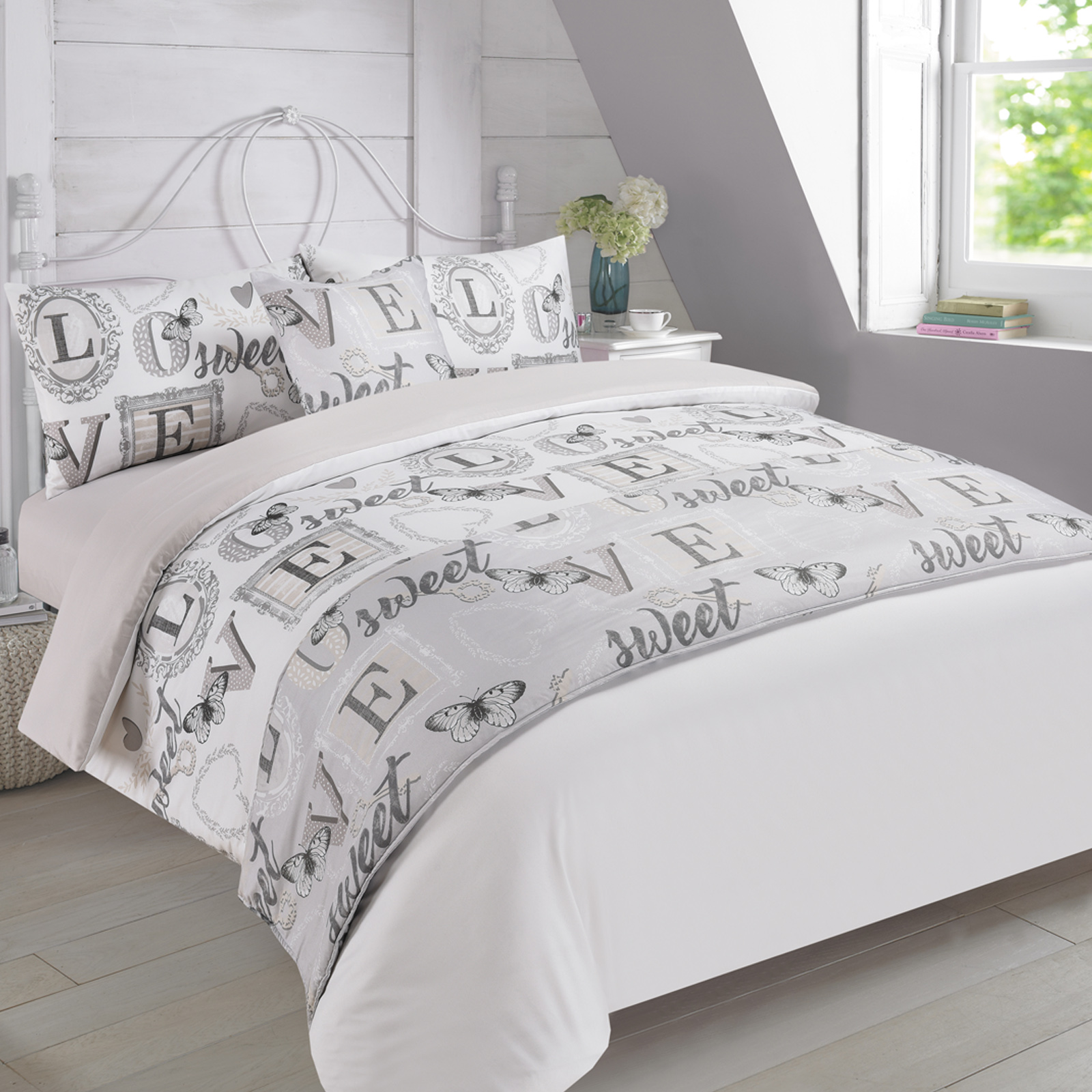 Complete Doona Cover Cushion Bed Runner Fitted Sheet Set Sweet Love Grey  Teal