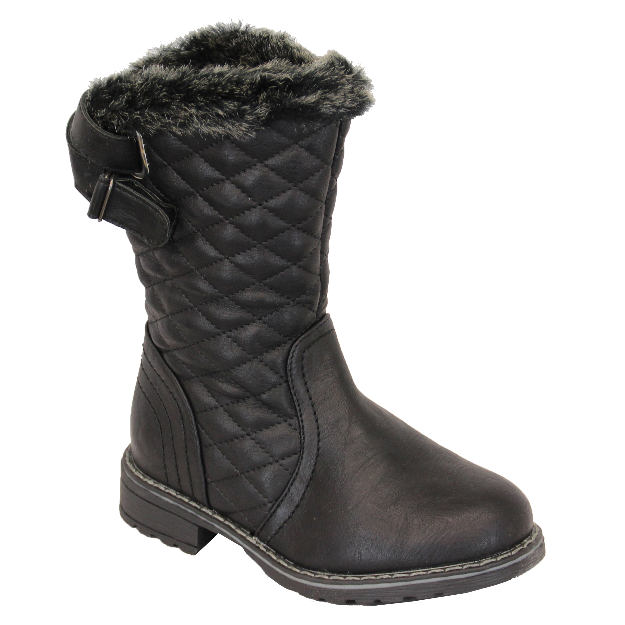 Girls Snow Boots Kids Shoes Leather Look High Ankle Top