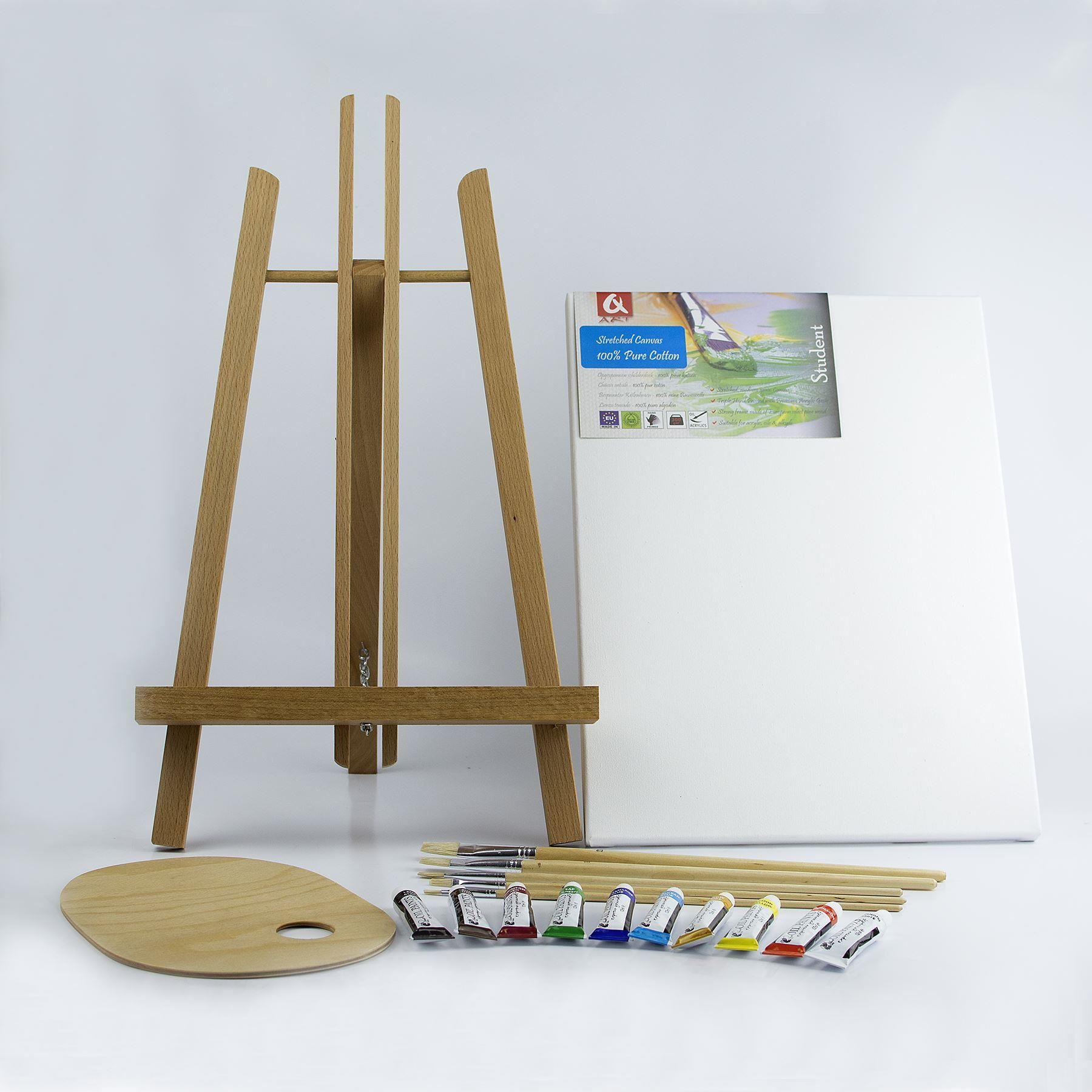18 pi ces set chevalet en bois peintures toile brosses bois palette ebay. Black Bedroom Furniture Sets. Home Design Ideas
