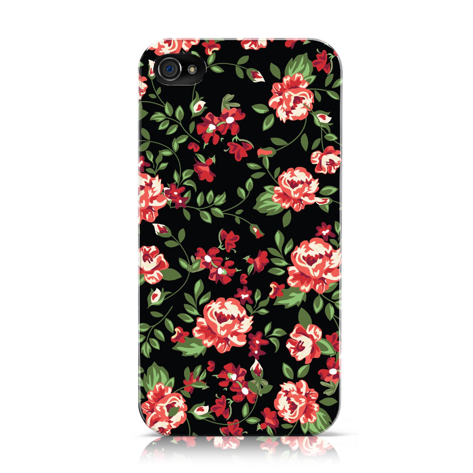 NUEVO-de-Flores-Pequeno-Rojo-Flor-Negro-Estampado-Funda-para-Apple-iPhone