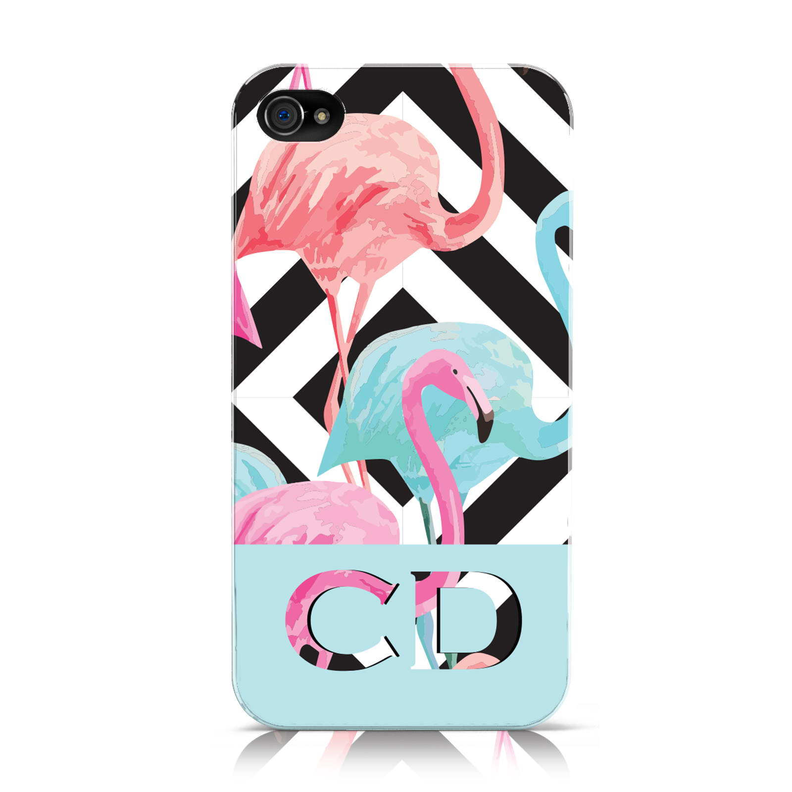 PERSONNALISE-INITIALES-FLAMANTS-ROSES-9-ETUI-POUR-APPLE-IPHONE