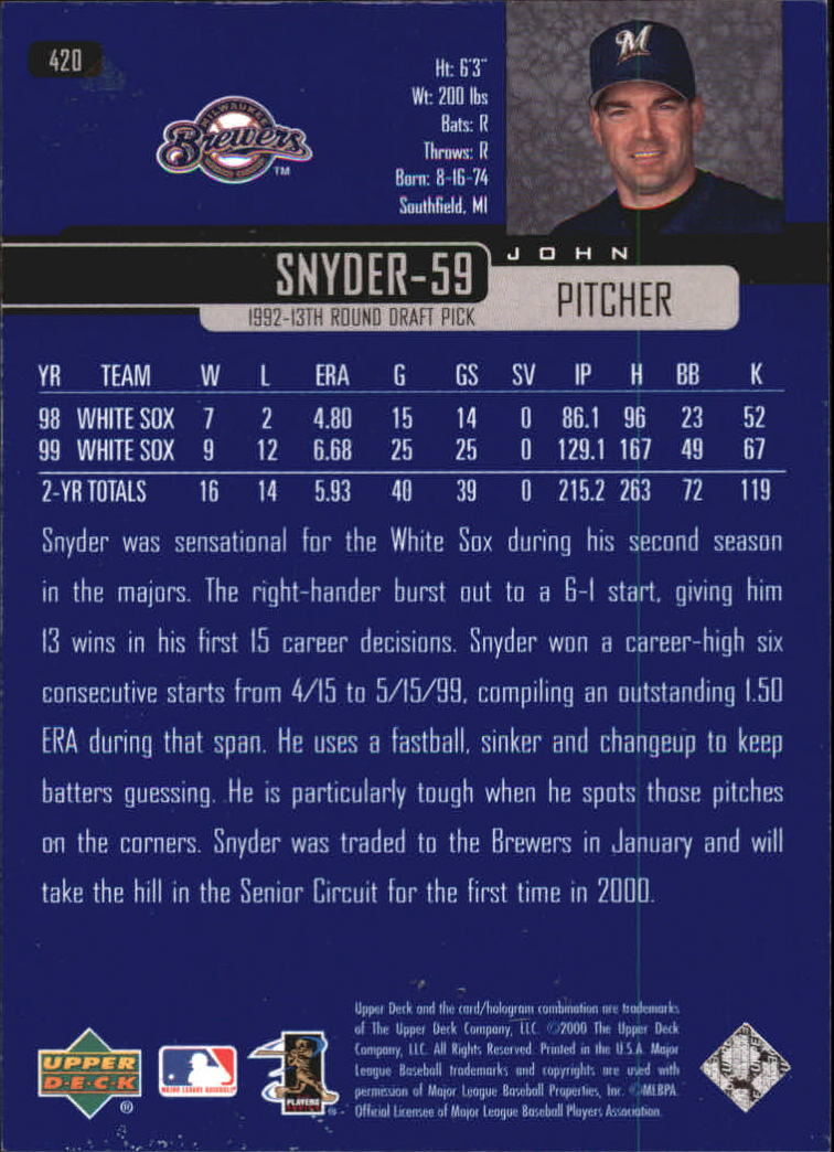 2000-Upper-Deck-Beisbol-Tarjeta-Recoger-274-540 miniatura 277