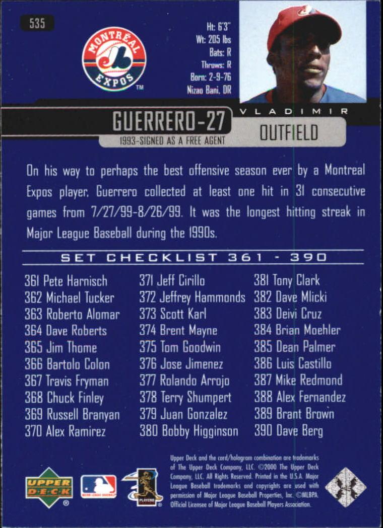 2000-Upper-Deck-Beisbol-Tarjeta-Recoger-274-540 miniatura 477