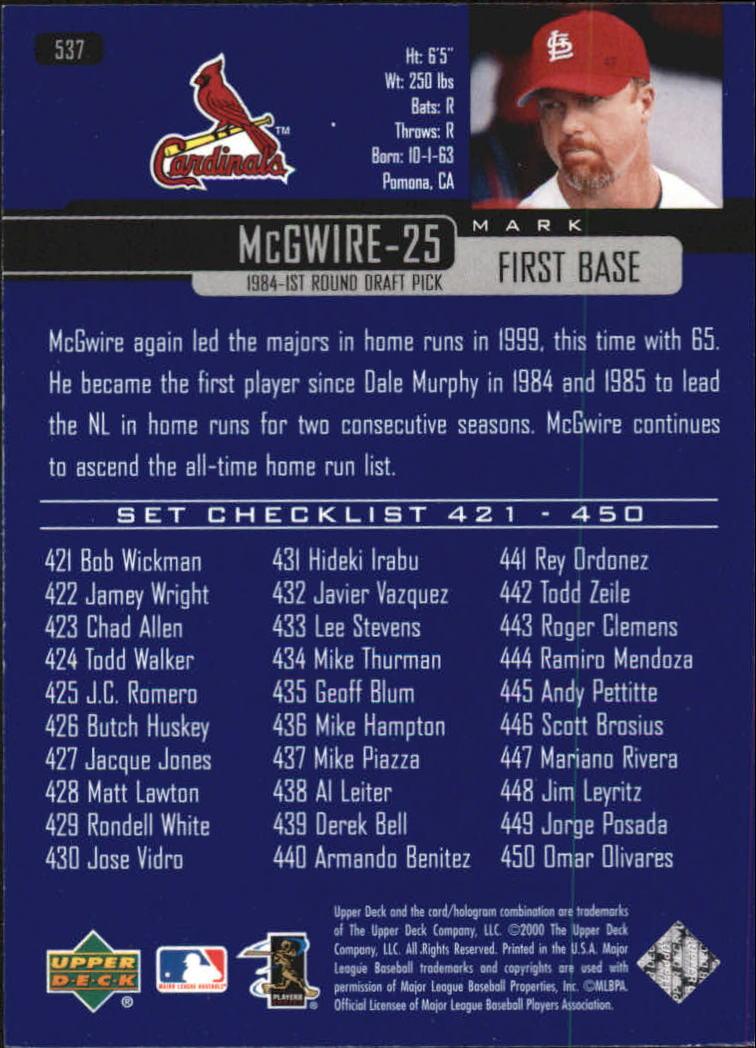 2000-Upper-Deck-Beisbol-Tarjeta-Recoger-274-540 miniatura 481