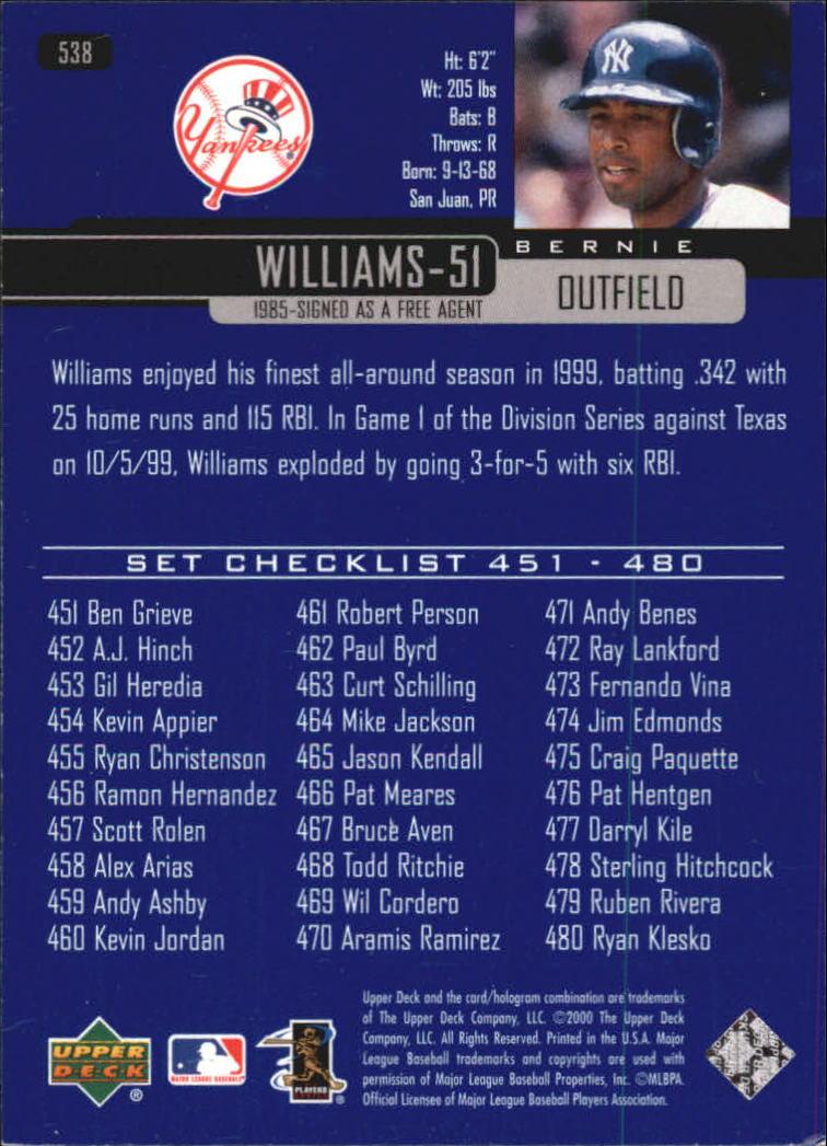 2000-Upper-Deck-Beisbol-Tarjeta-Recoger-274-540 miniatura 483