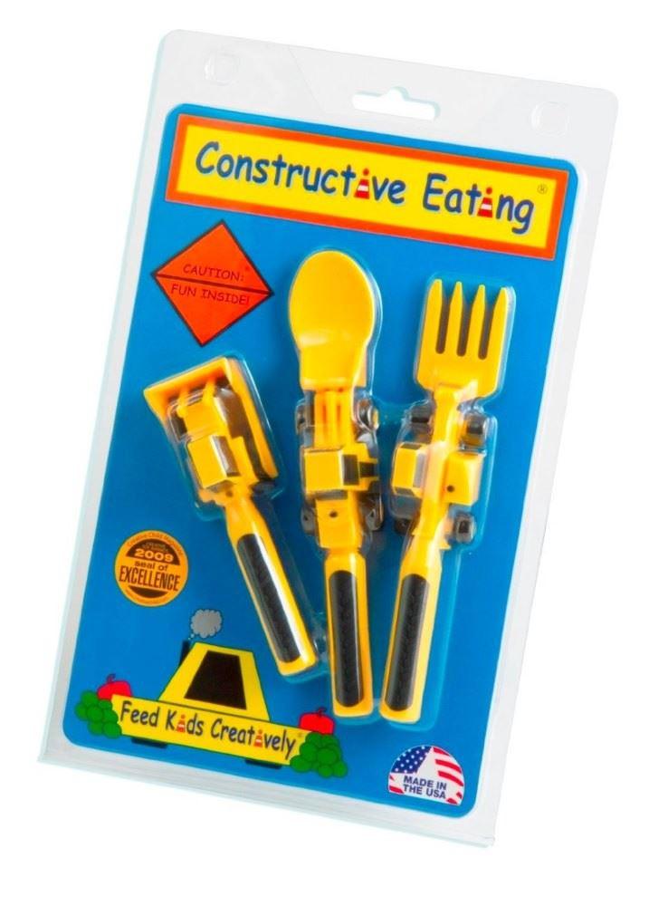 Constructive-Eating-Enfants-Plaque-et-Set-de-Couverts-Cuillere-Fourche-amp miniature 6