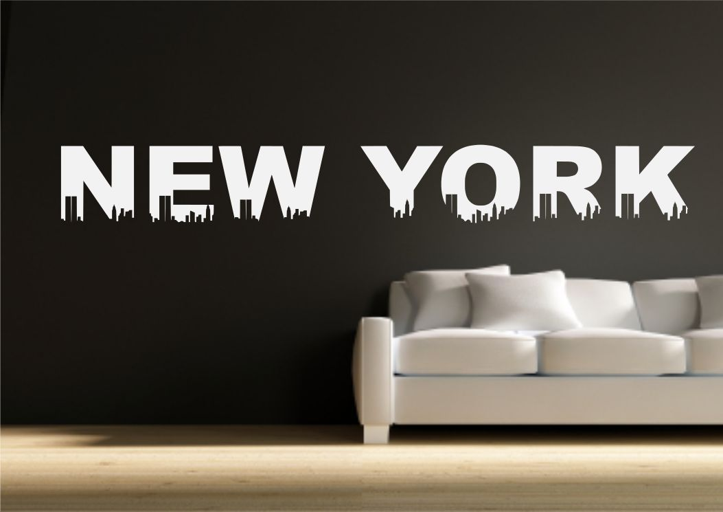 New york themed wall sticker decal transfer mural stencil for Sticker mural new york