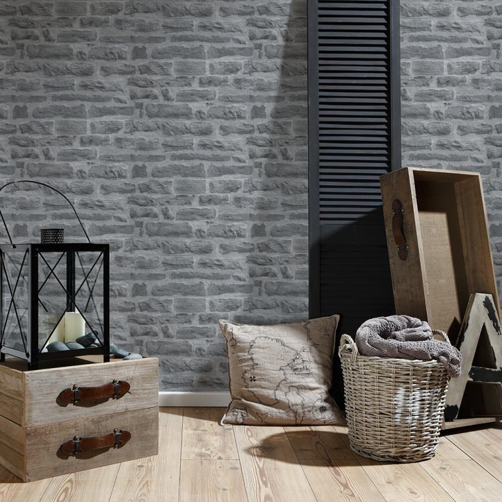 as creation brique en pierre motif papier peint r aliste effet faux relief ebay. Black Bedroom Furniture Sets. Home Design Ideas