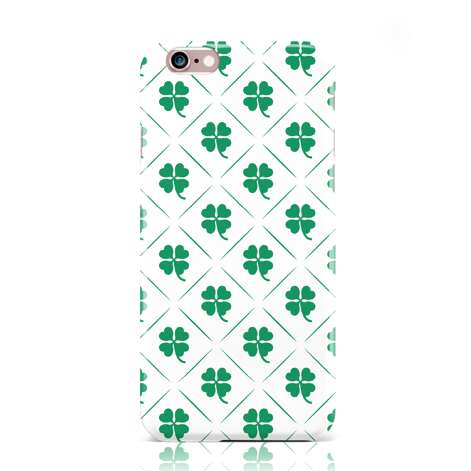 dyefor-Verde-trebol-Estampado-Carcasa-Blanco-Funda-para-Apple-iPhone
