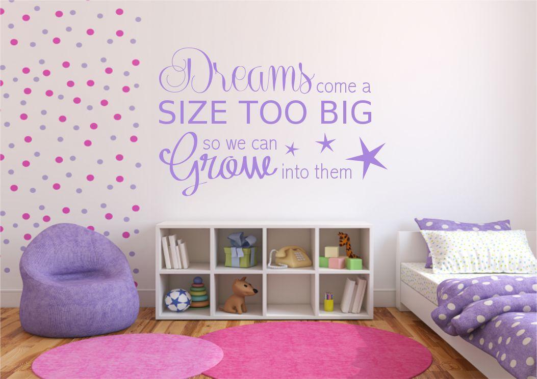 DREAM BIG BOYS GIRLS BEDROOM WALL ART QUOTE PHRASE STICKER VINYL ...
