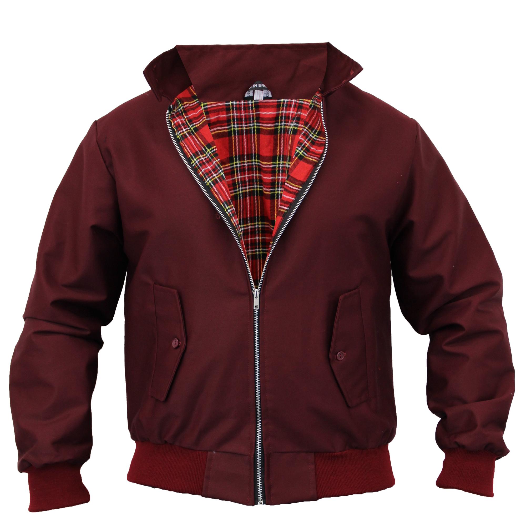 Mens Harrington Jacket Coat Retro Vintage Bomber Tartan ...