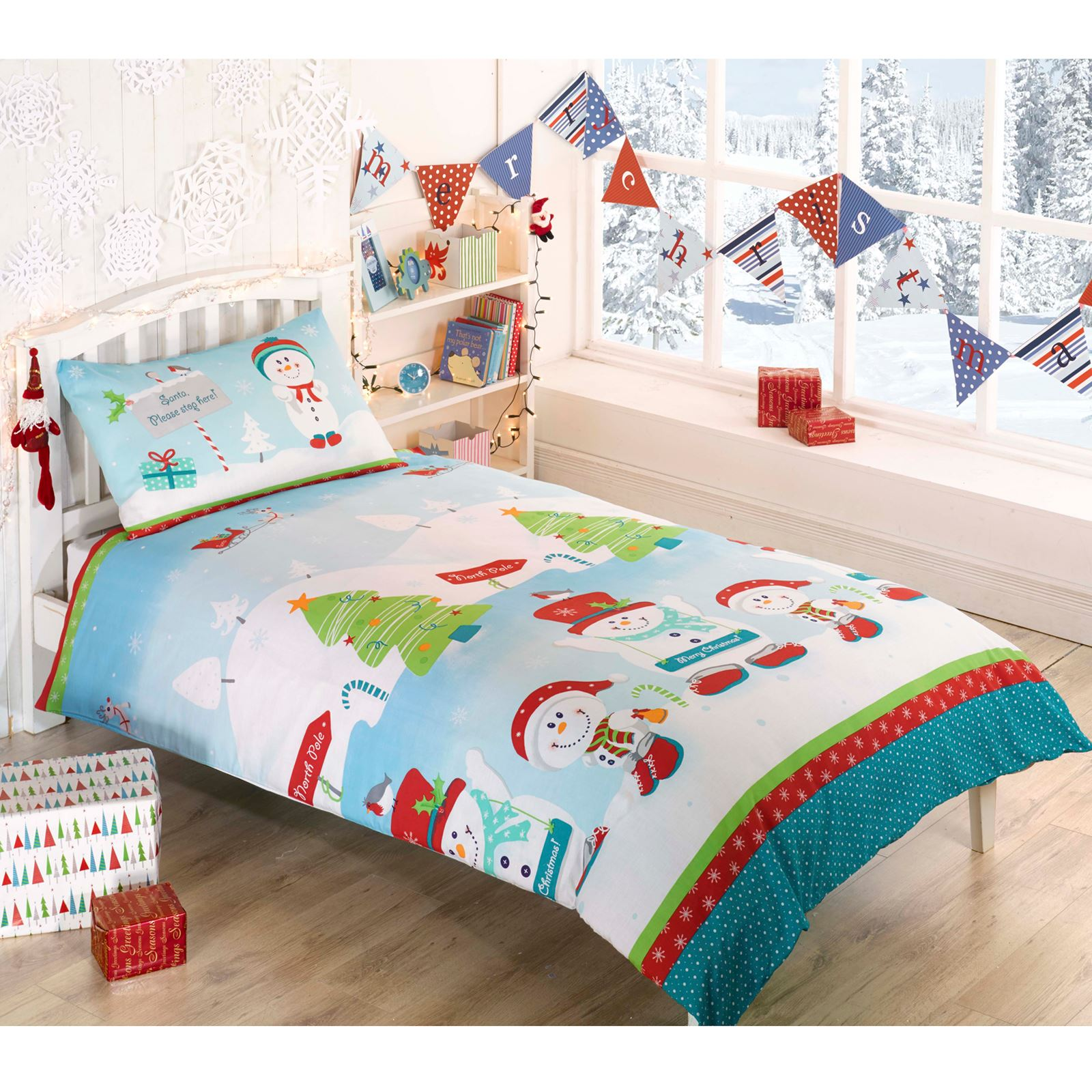 CHRISTMAS DUVET COVERS KIDS BEDDING SANTA REINDEER - JUNIOR SINGLE ...