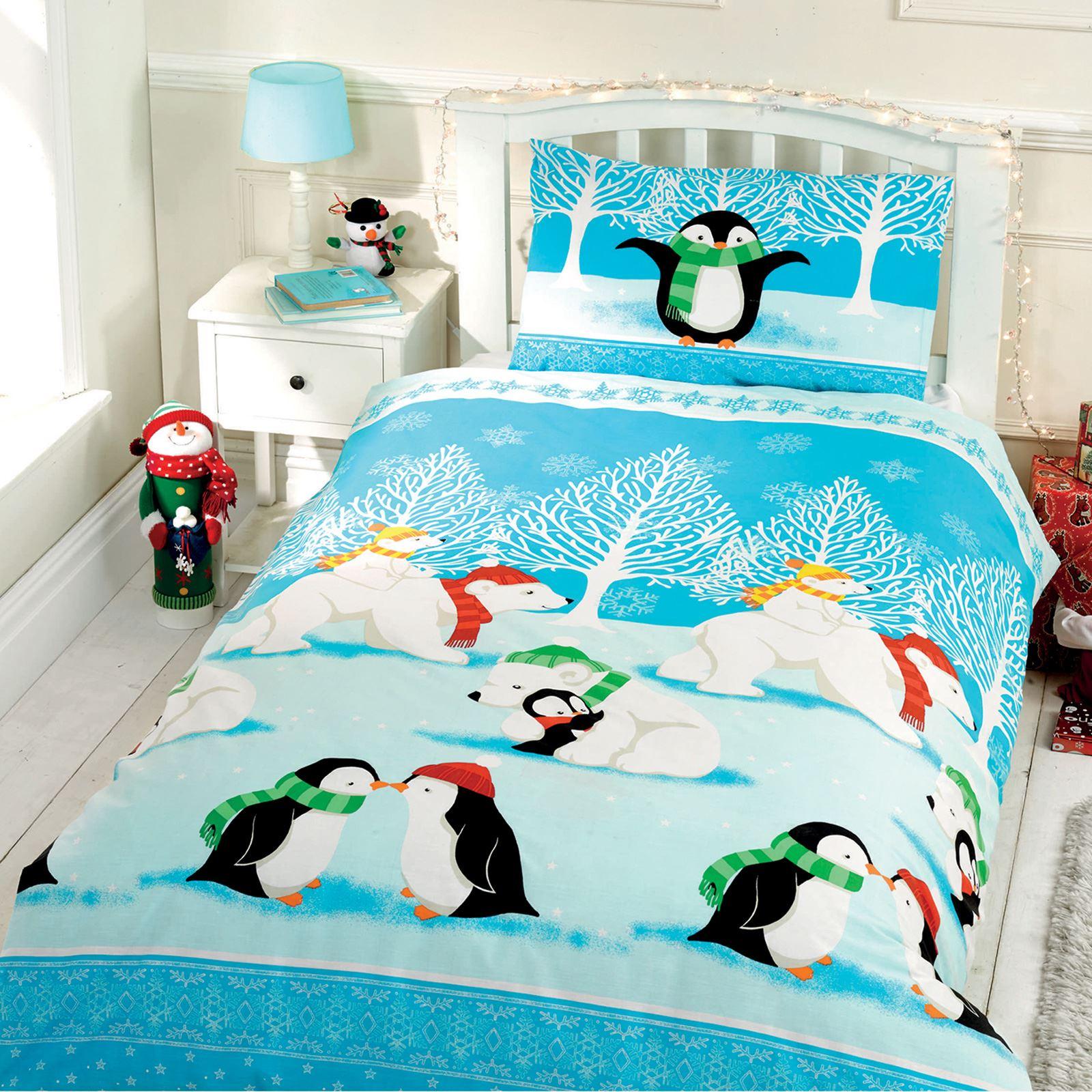 Christmas Duvet Cover Sets Bedding Kids Santa Reindeer