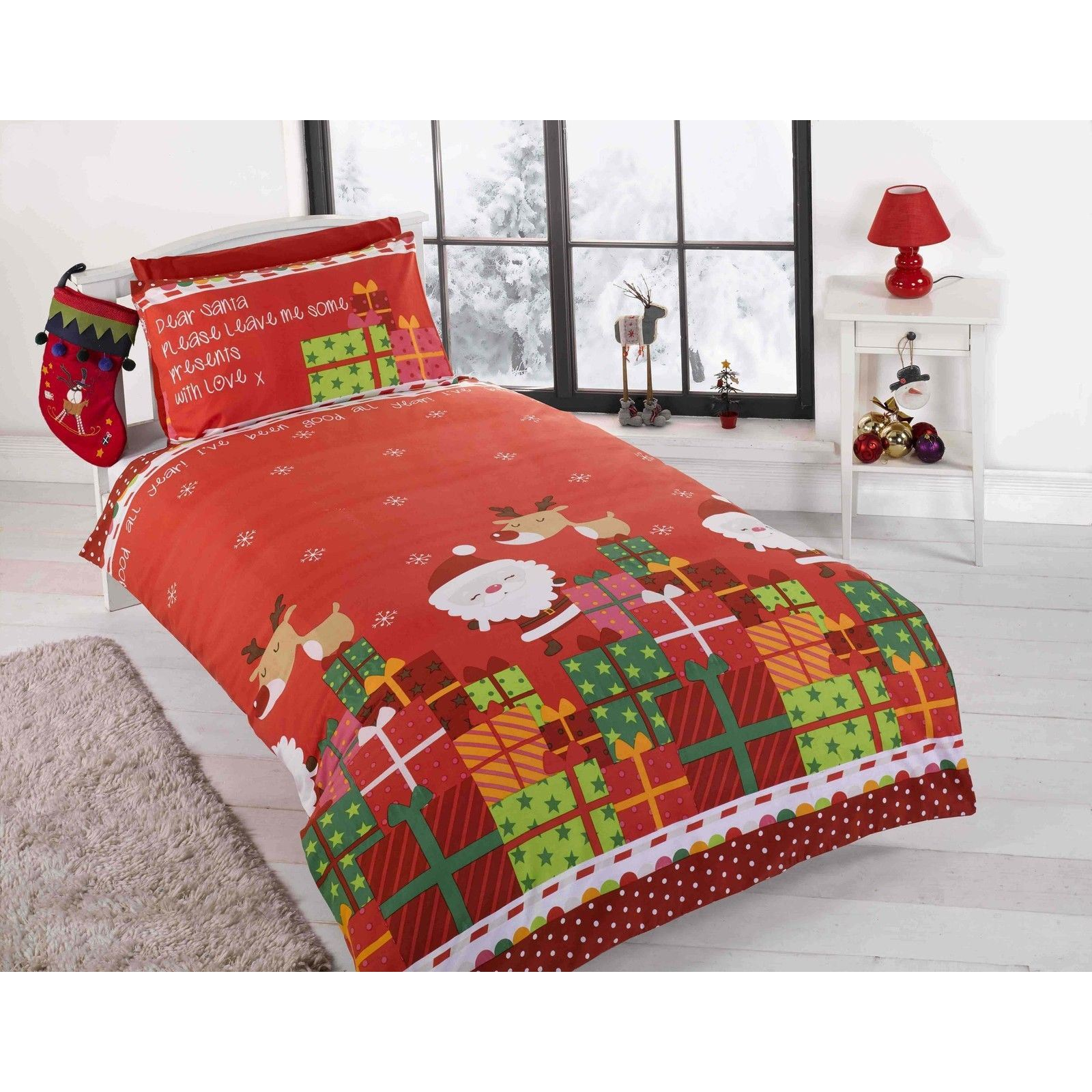 CHRISTMAS DUVET COVER SETS BEDDING KIDS SANTA REINDEER - JUNIOR ...