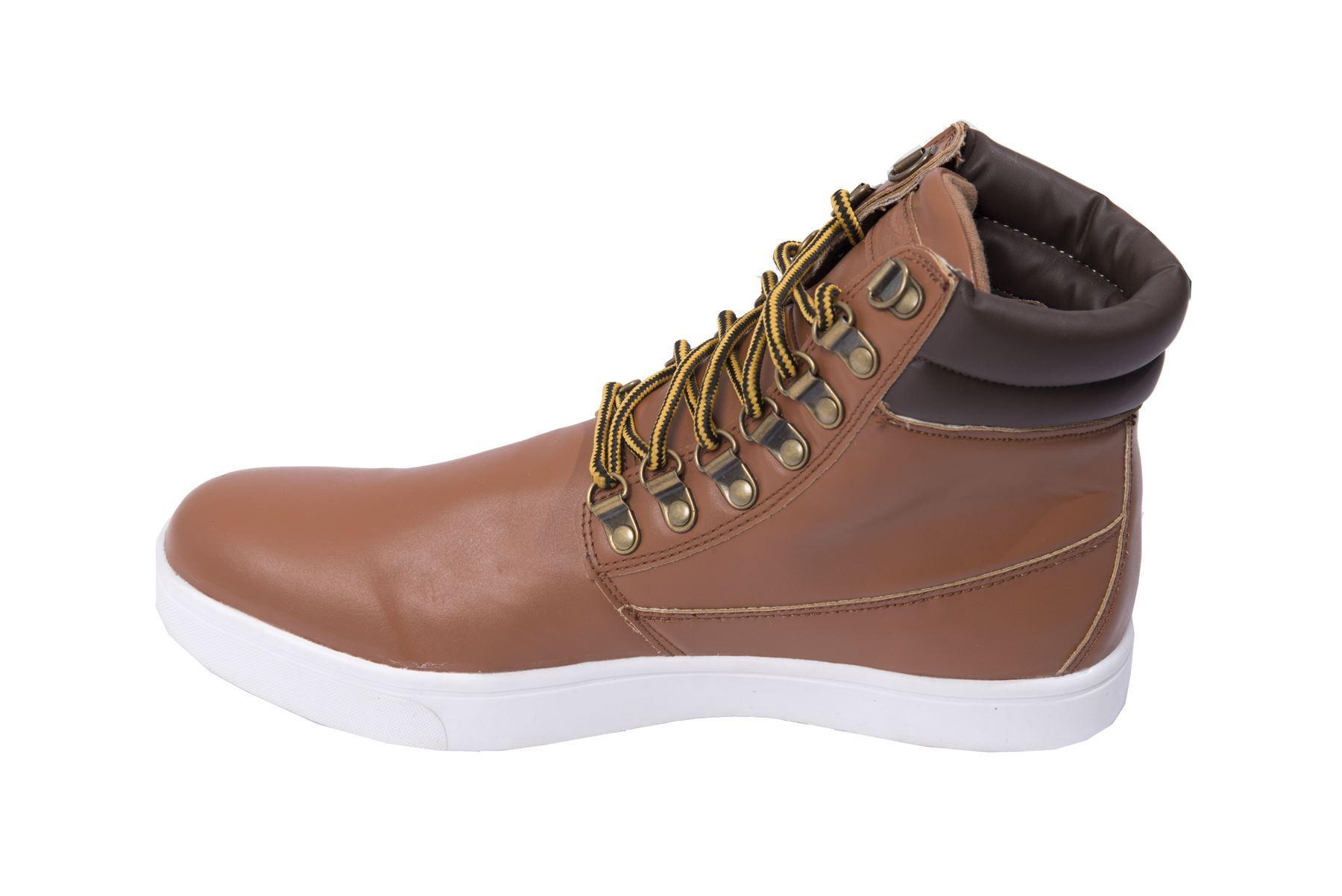 Hommes-Decontracte-Chaussures-Cheville-LACET-CUIR-contrastant-detail-Baskets-R-amp