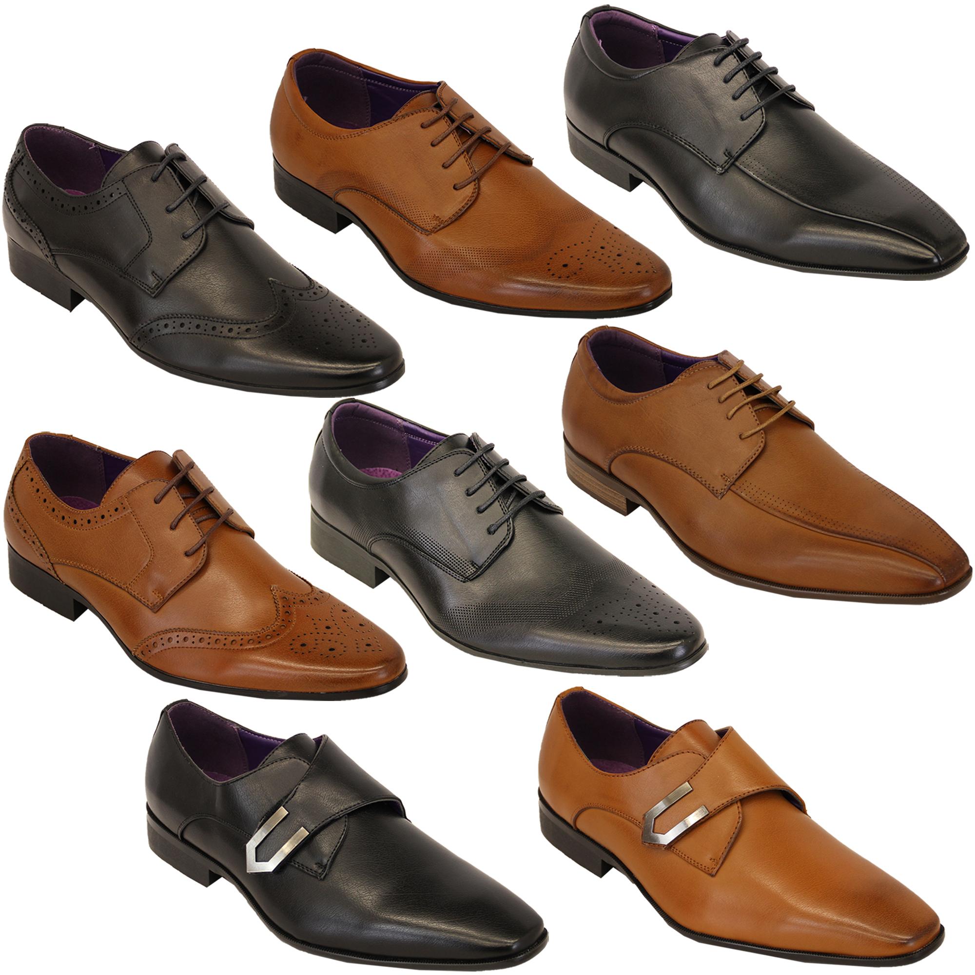 buy online 1067b 98add Details zu Italienische Schuhe Herren Lederoptik Brogue Schnürbar Spitz  Formell Elegant