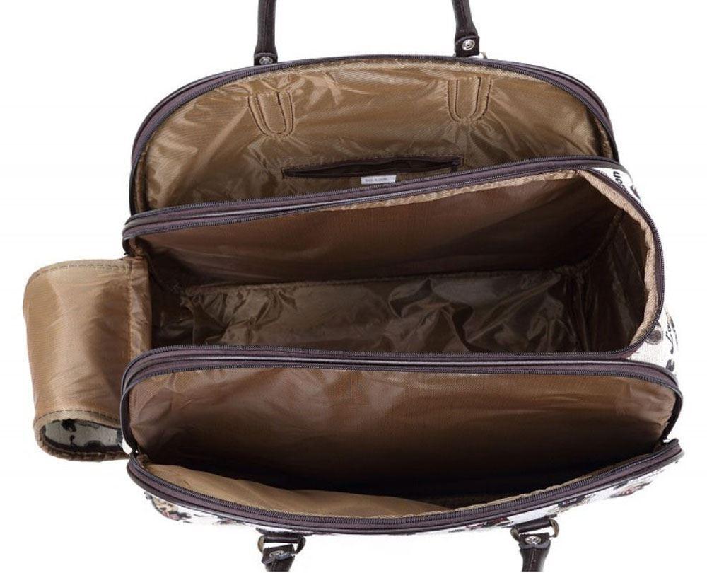 damen teddy druck reisetasche griff mit rollen koffer seesack gep ck ebay. Black Bedroom Furniture Sets. Home Design Ideas