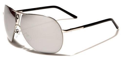 Khan-Designer-Occhiali-da-sole-neri-DONNA-UOMO-GRANDE-SPECCHIO-retro-PILOTA