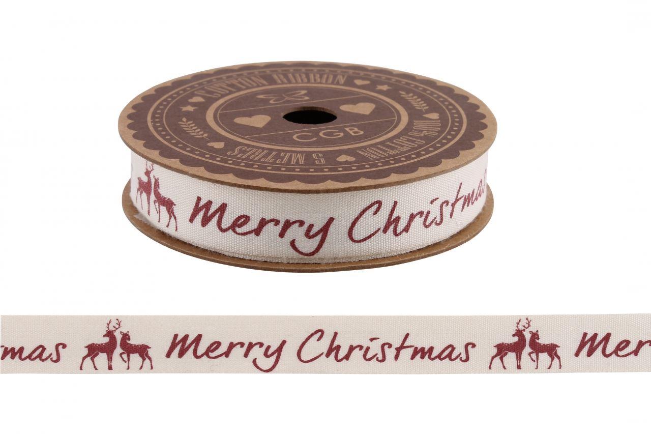 NEUF-COTON-IMPRIME-Ruban-Cadeau-Emballage-Decoration-Noel-Artisanats-5m