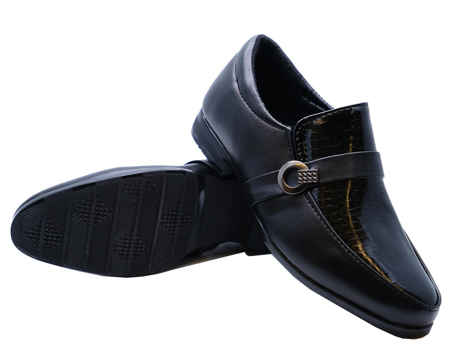 Garcons-Enfants-Junior-Noires-Ecole-a-Enfiler-Elegant-Mariage-Mocassins-Tailles