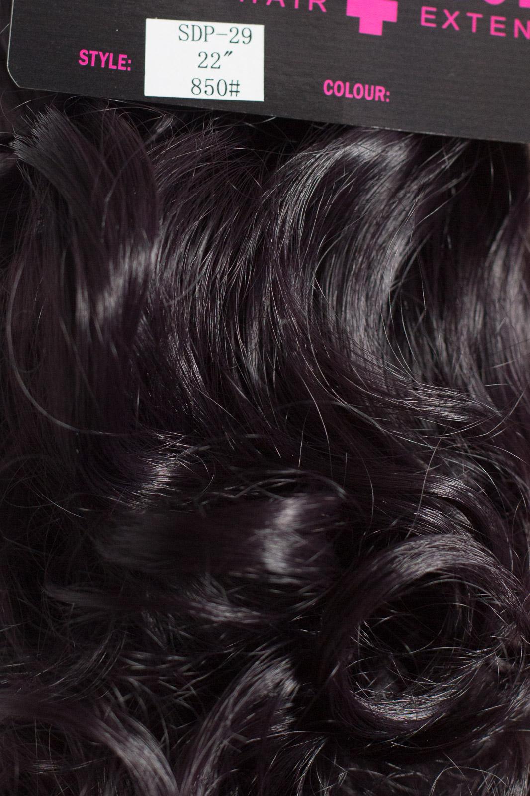 QUEUE-DE-CHEVAL-Clip-A-Griffes-Dans-Le-Morceau-De-Cheveux-Extension-Noir-Prune