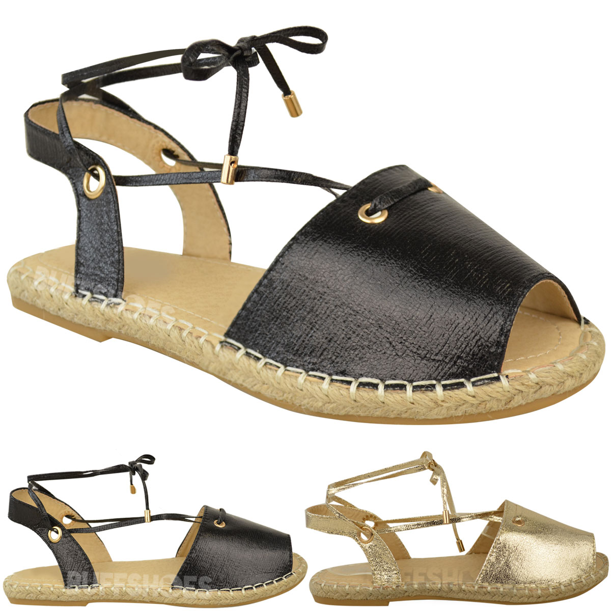 pour femmes plat espadrilles sandales lacet bride cheville ebay. Black Bedroom Furniture Sets. Home Design Ideas