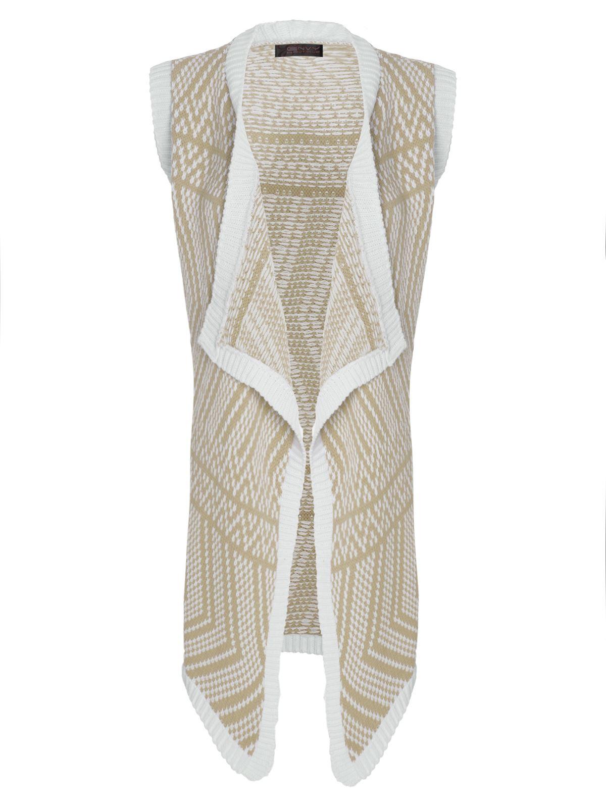 Womens Ladies Knitted Vest Cardigan Zig Zag Pattern Waterfall Top Plus Size ...